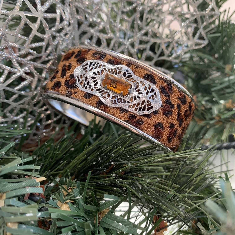 Leopard Vtg. Brooch Petite Cuff