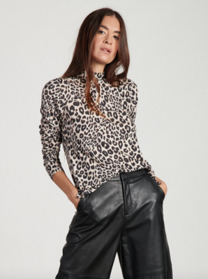 Leopard Mock Neck Top