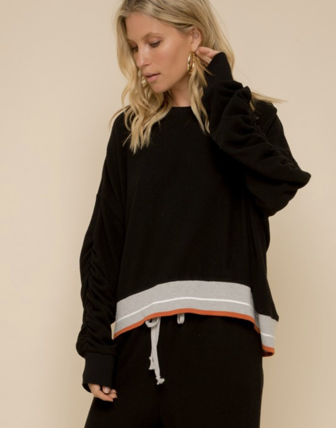 Blk Brushed Cozy Pullover