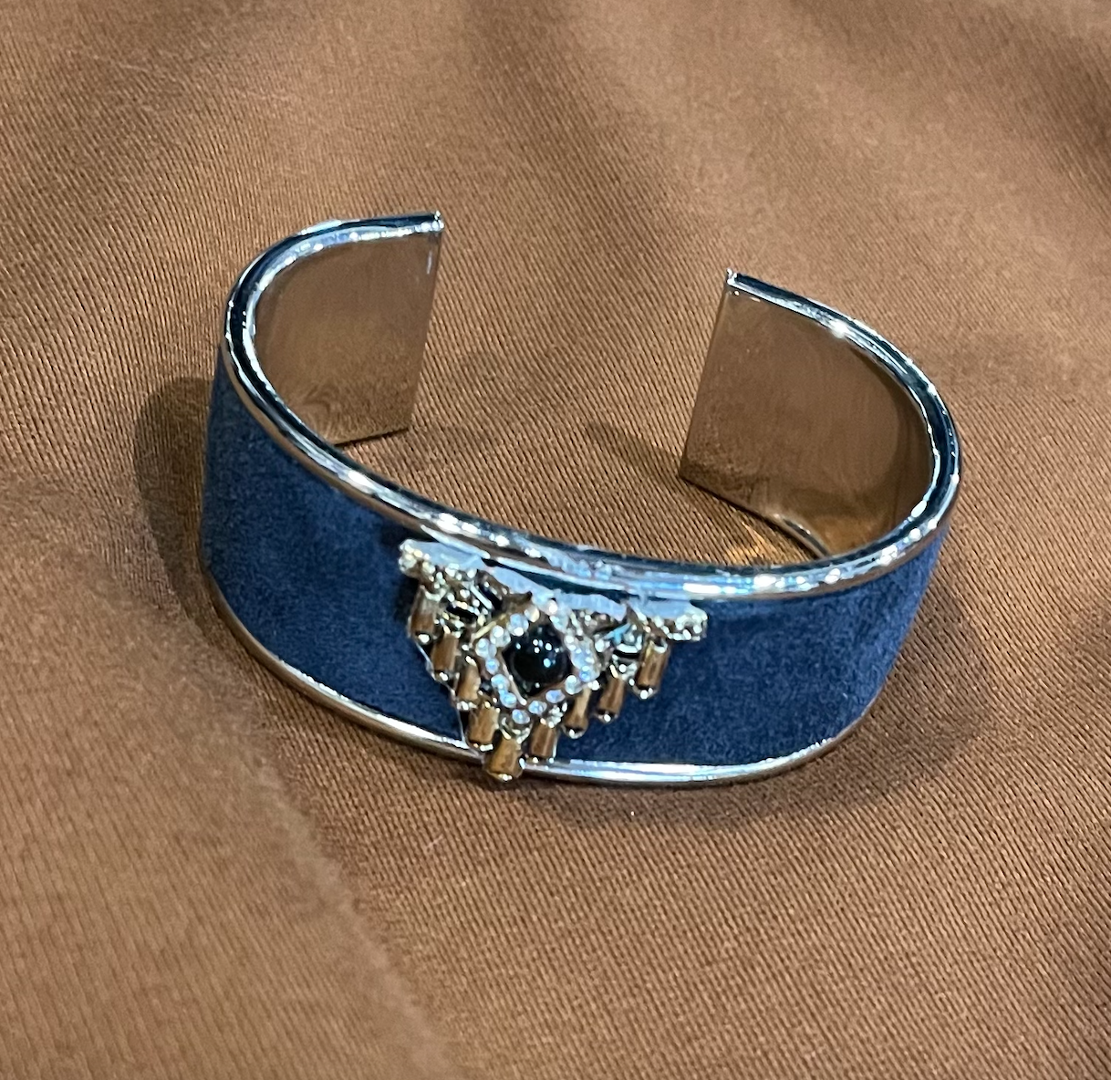 Navy Suede Vtg. Pin Petite Cuff