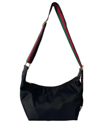 Blk Nylon Sling Messenger Bag