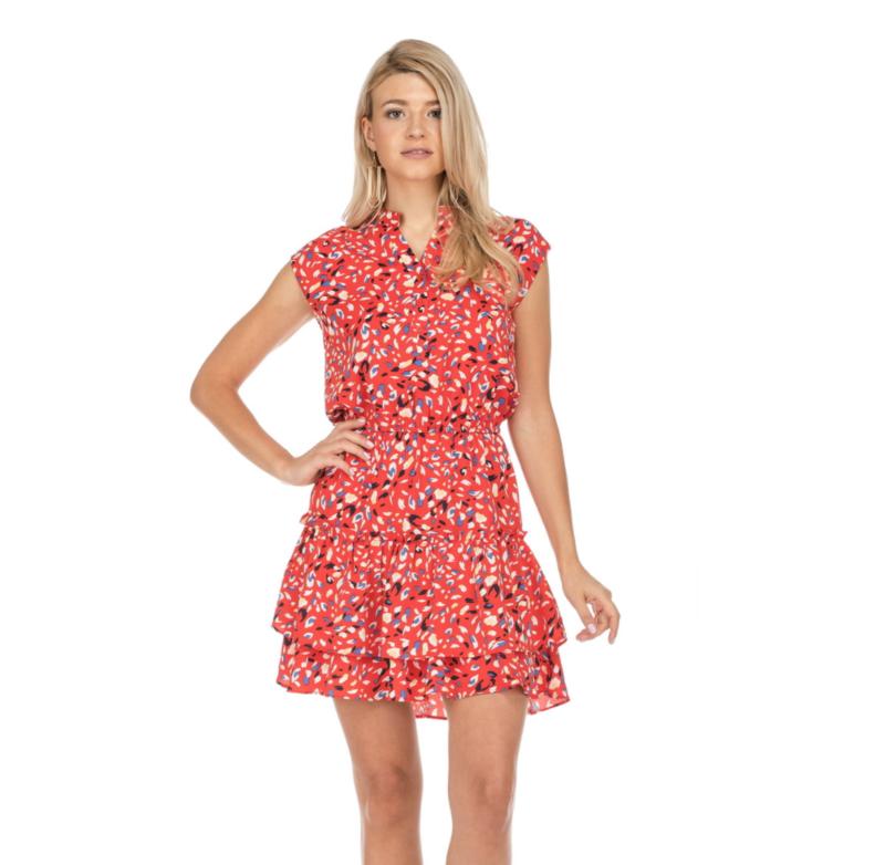 Red Print Flare Hem Dress