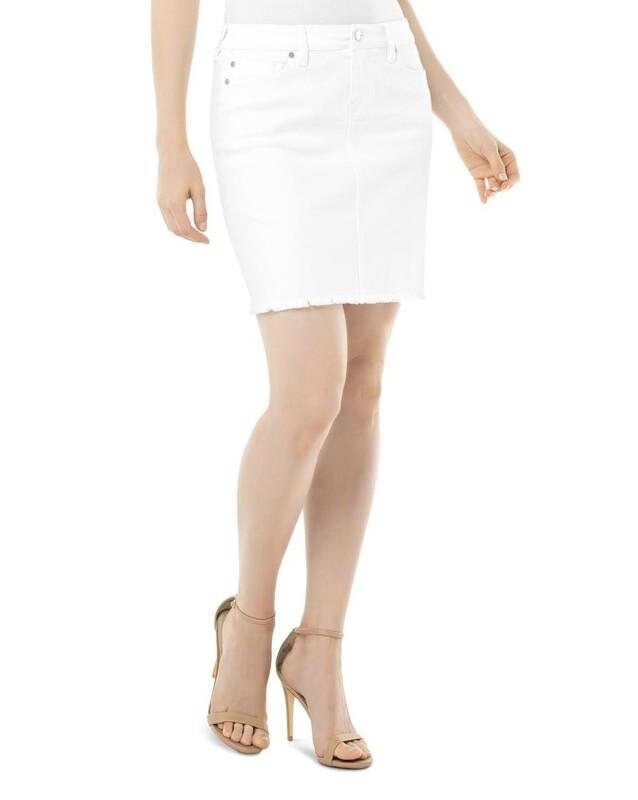 White Fray Hem Skirt