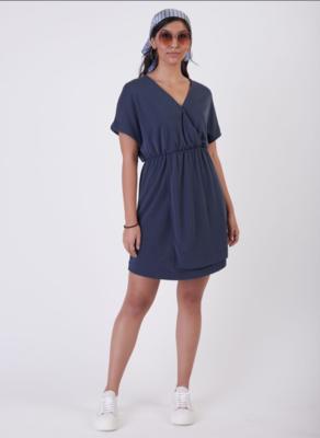 Indigo Knit Wrap Dress