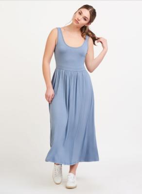 Blue Knit Midi Dress