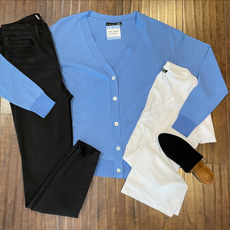 Blue Button-Front Cardigan