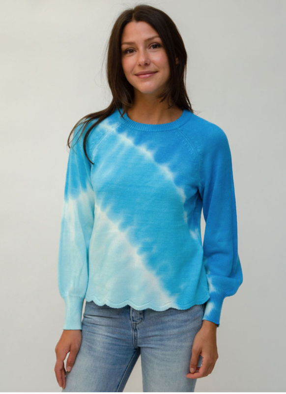 Blue Tie-Dye Scallop Sweater