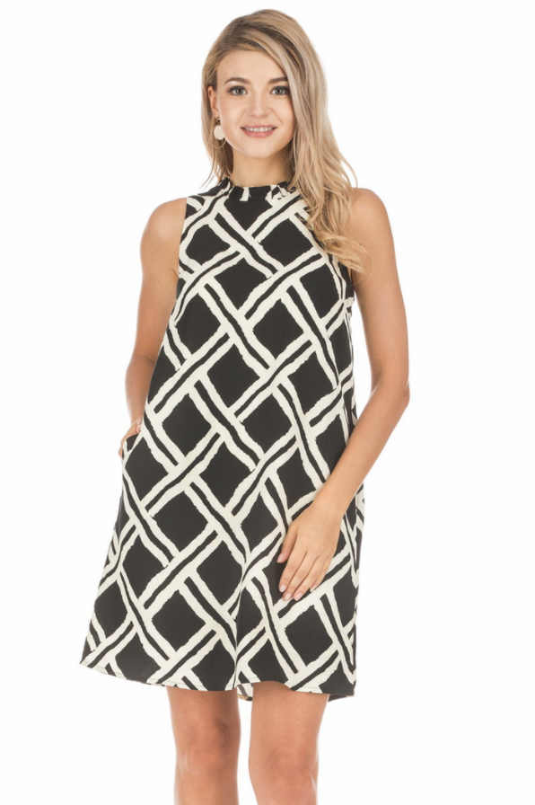 Black/White Ruffles Dress