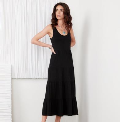 Black Tiered Midi Dress