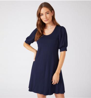 Navy Erin A-Line Dresss