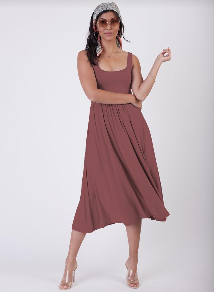 Dusty Rose Midi Dress
