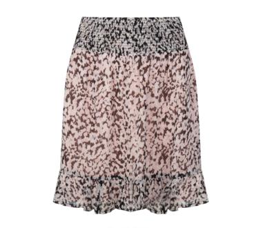 Smocked Marble Print Skirt