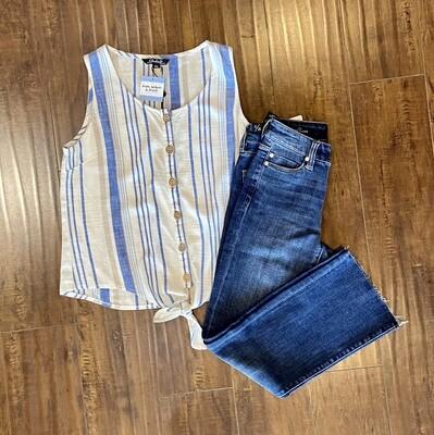 Blue Stripe Linen Top
