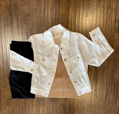 Ivory Crop Dobby Jacket
