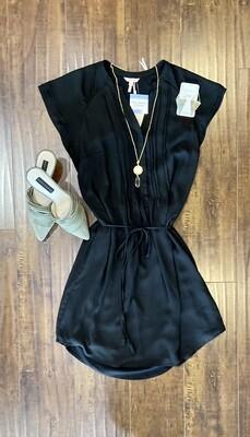 Black Tie-Waist Dress