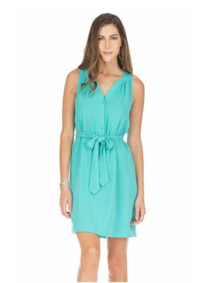 Turquoise Tie-Wast Dress