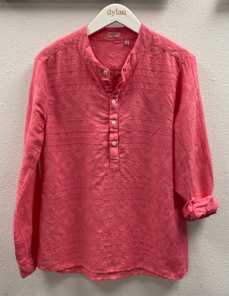 Coral Laid-Back Button-Up