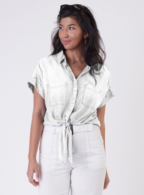 White Tencel Tie-Front Top