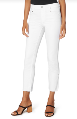 White Gia Crop Slim W/ Slit