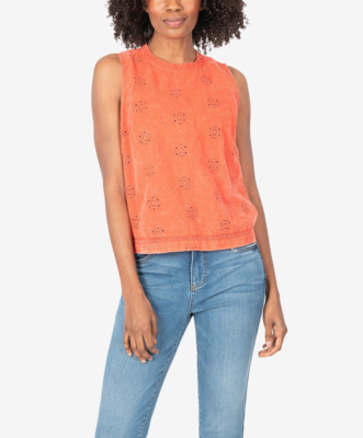 Coral Sleeveless Lace Top