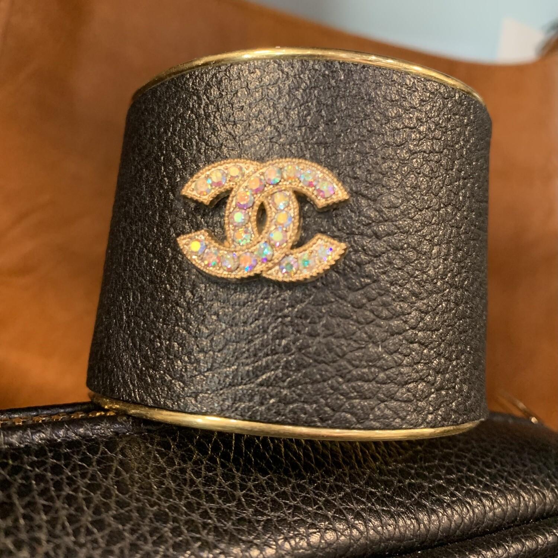 Blk/Gold Chanel Statement Cuff
