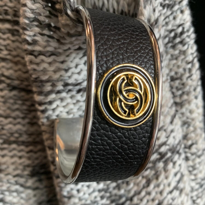 Blk/Gold Chanel Petite Cuff