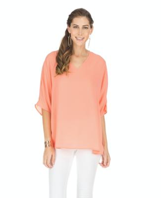 Coral V-Neck Pullover
