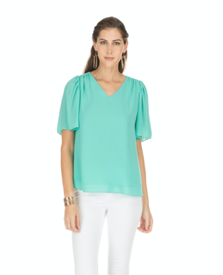 Turquoise Flutter-Sleeve Top