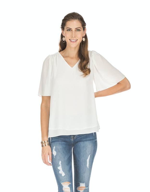 White Flutter-Sleeve Top
