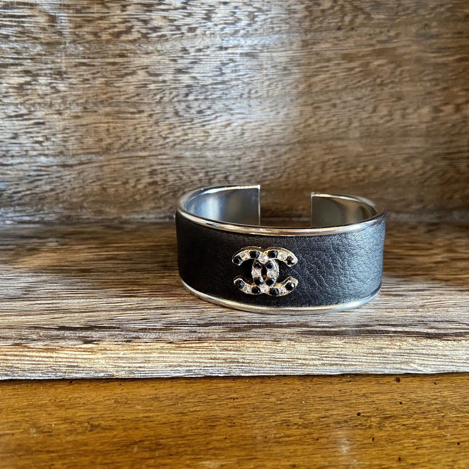Blk. Mixed Crystal Chanel Petite Cuff