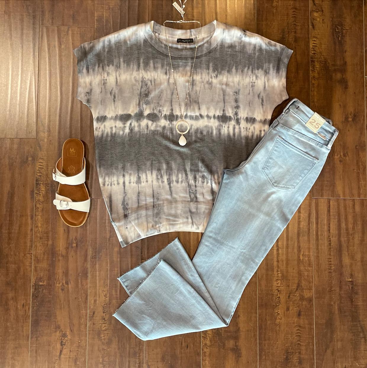 Grey Tie-Dye Top