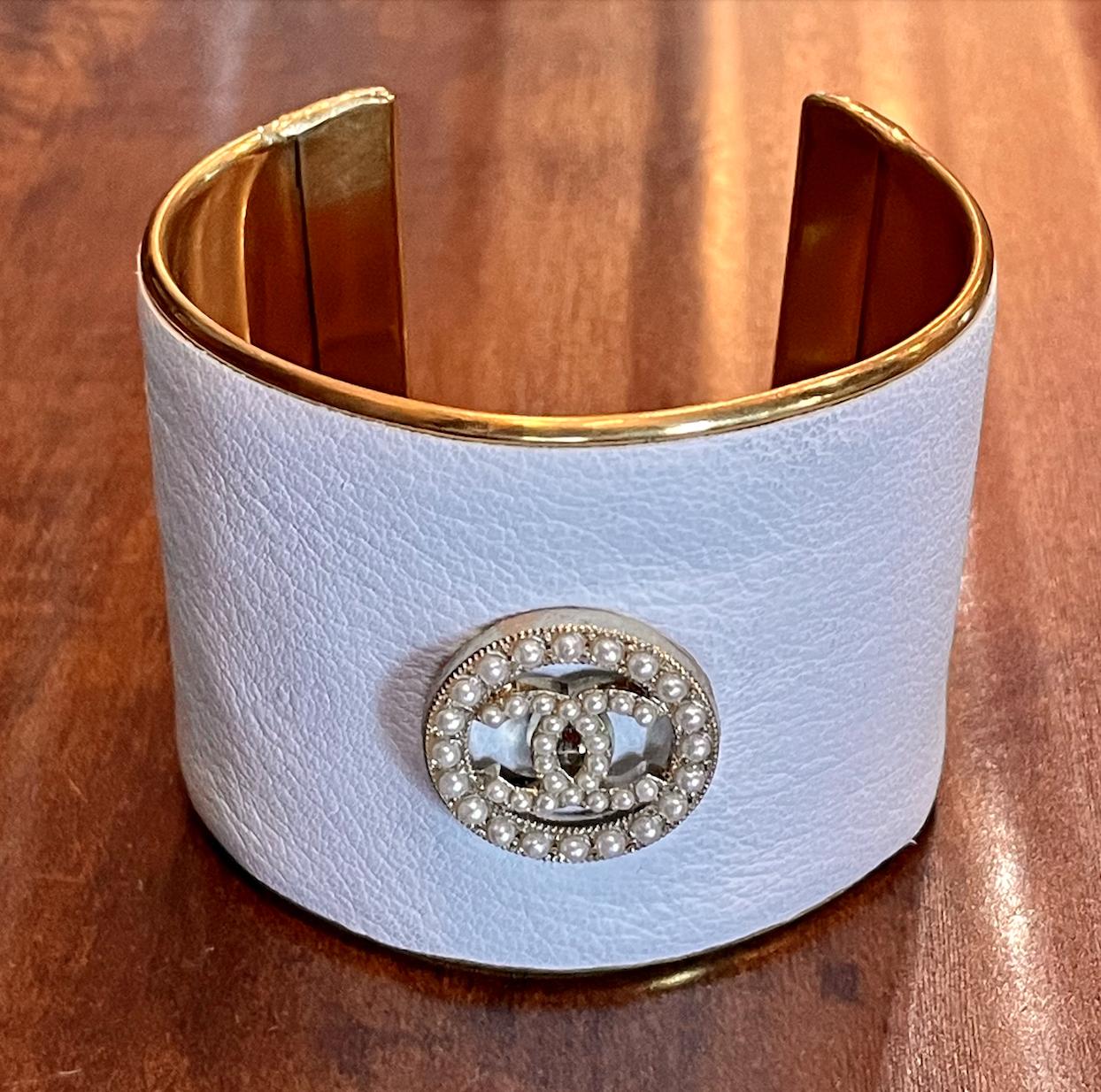 White Chanel Gold Statement Cuff