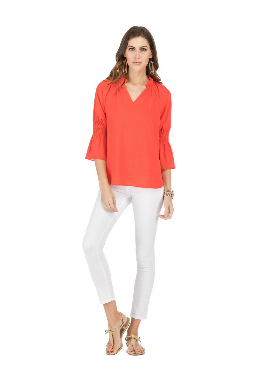 Coral 3/4 Sleeve Blouse
