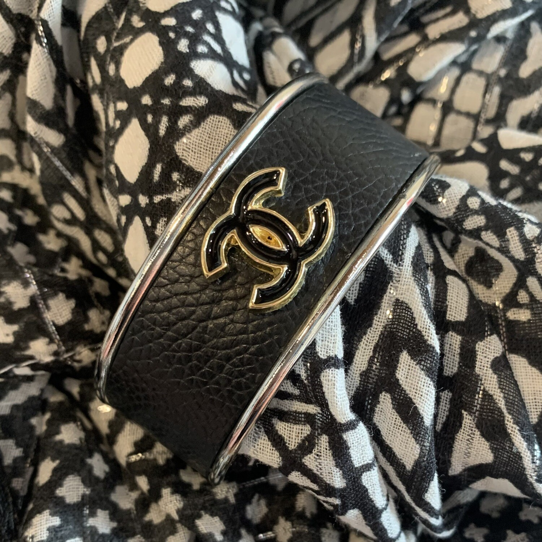 Blk/Gold Chanel Button Petite Cuff