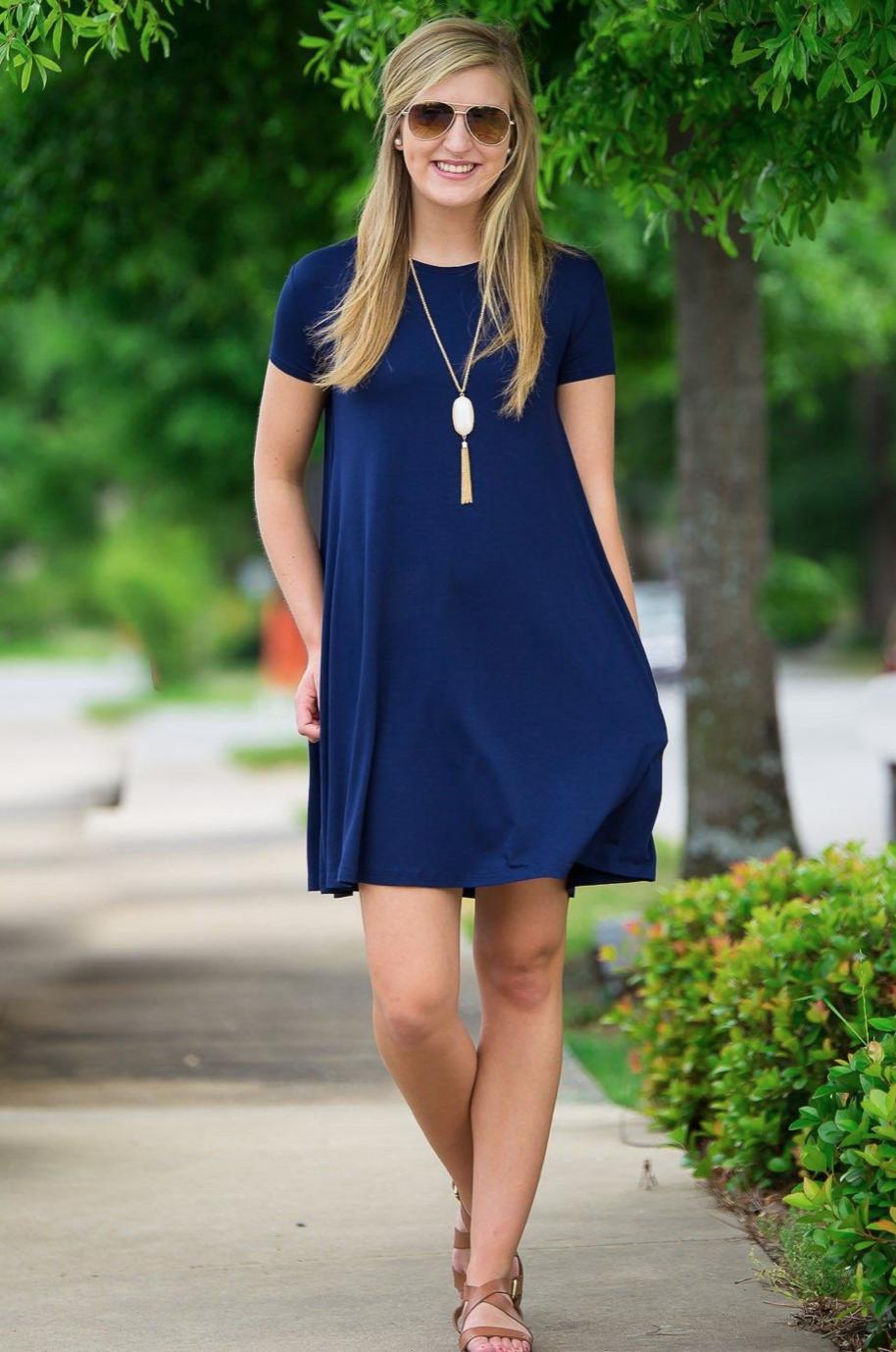 Short-Sleeve Swing Dress