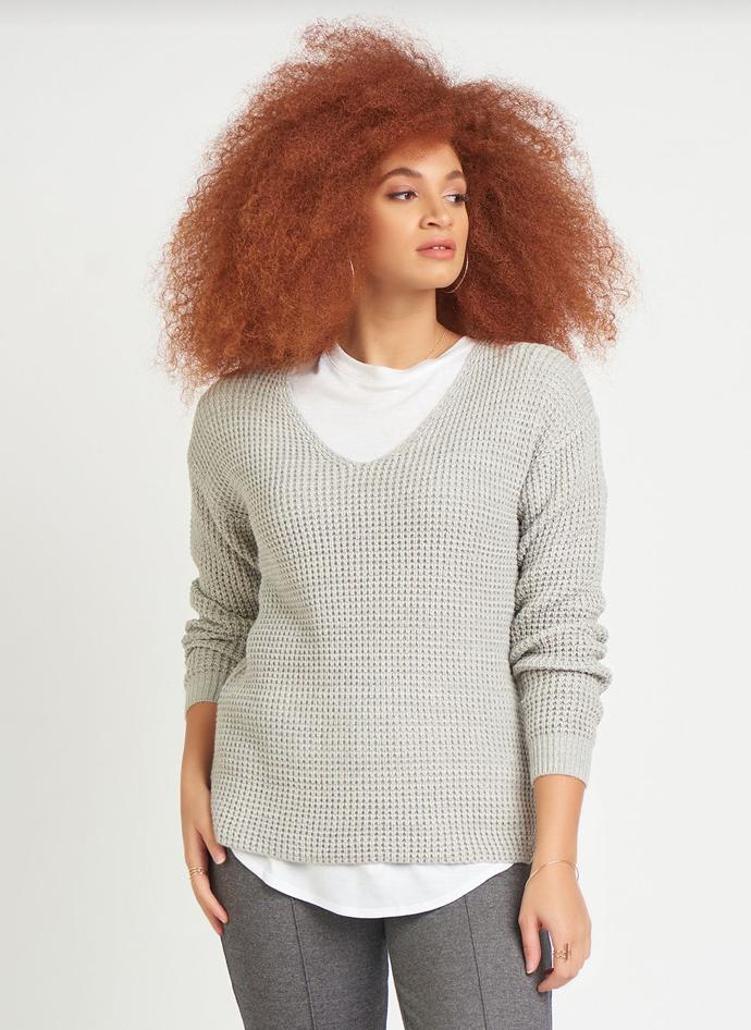 Grey Open-Weave Sweater