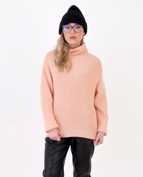 Peach Mock Neck Sweater