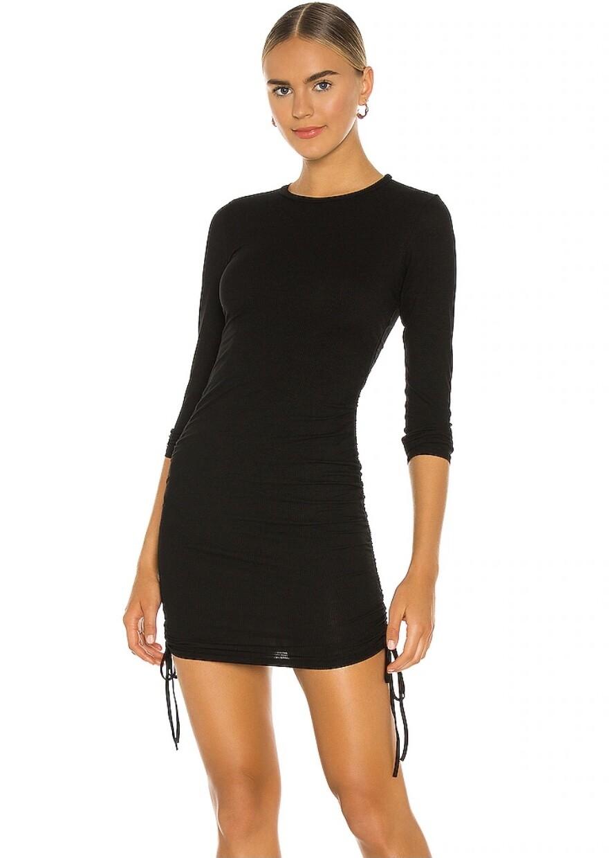 Black Ruched L/S Dress