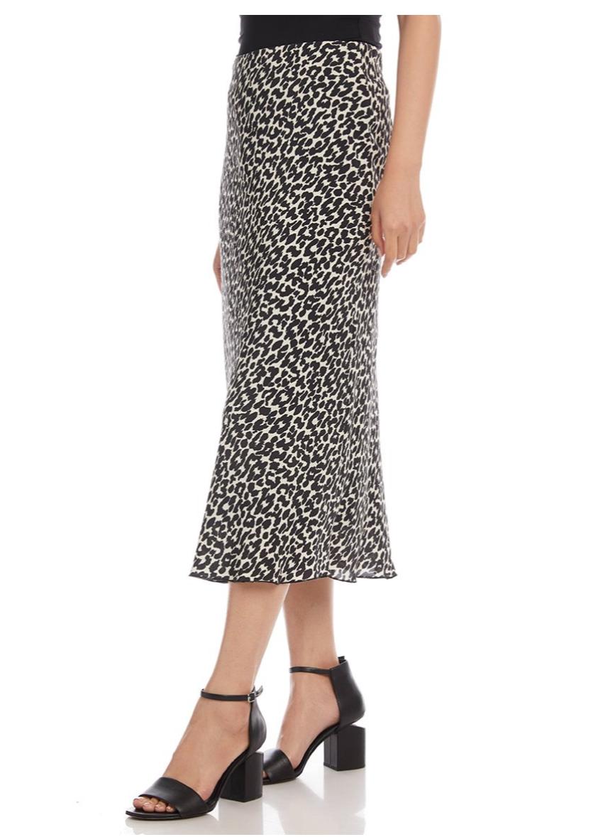 Blk Leopard Midi Skirt