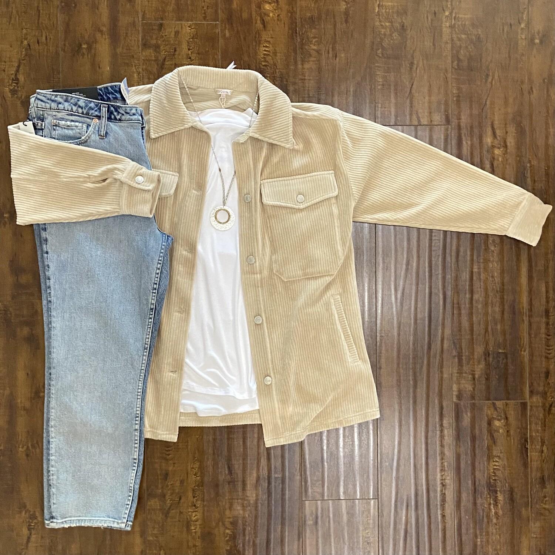 Beige Oversized Ribbed Jacket