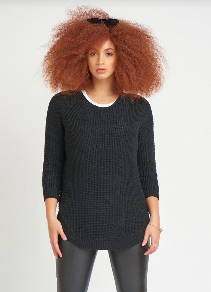 Black Textured Sweater