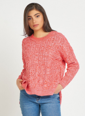 Berry Cable Knit Sweater