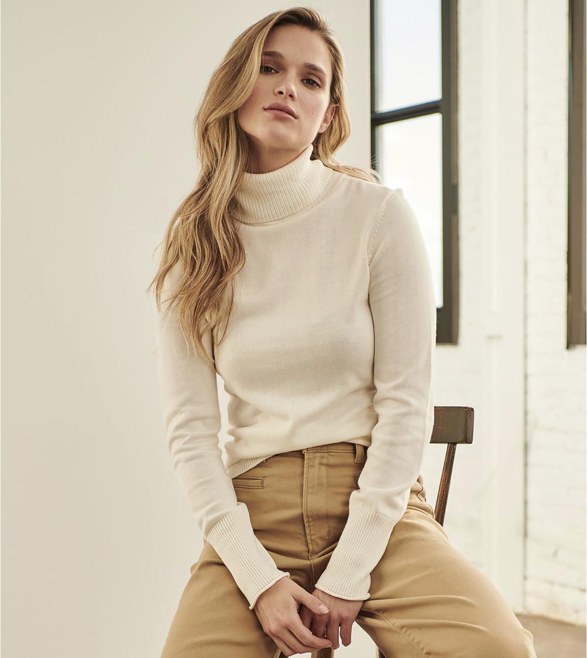 Cream Turtleneck Sweater