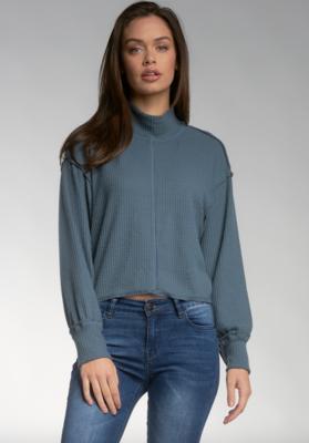 Steel Mock-Neck Sweater