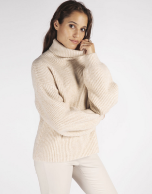 Beige Balloon-Sleeve Sweater