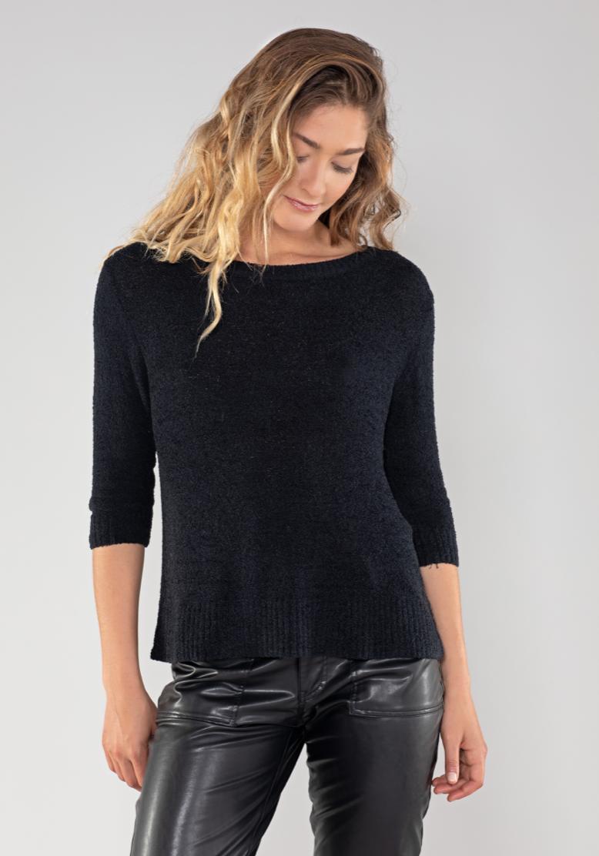 Blk 3/4 Sleeve Fuzzy Sweater