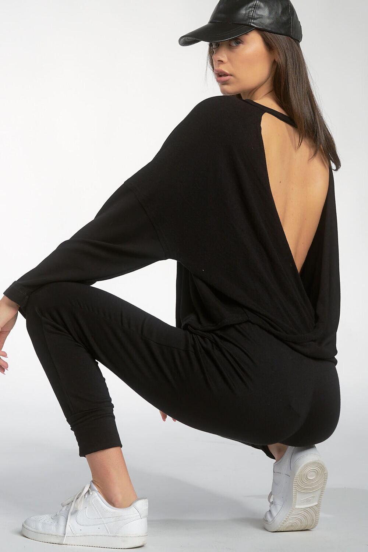 Blk Open-Back Sweater