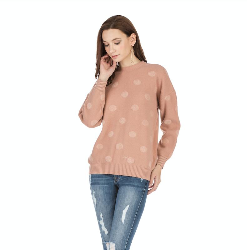 Mauve Dot Eyelash Sweater