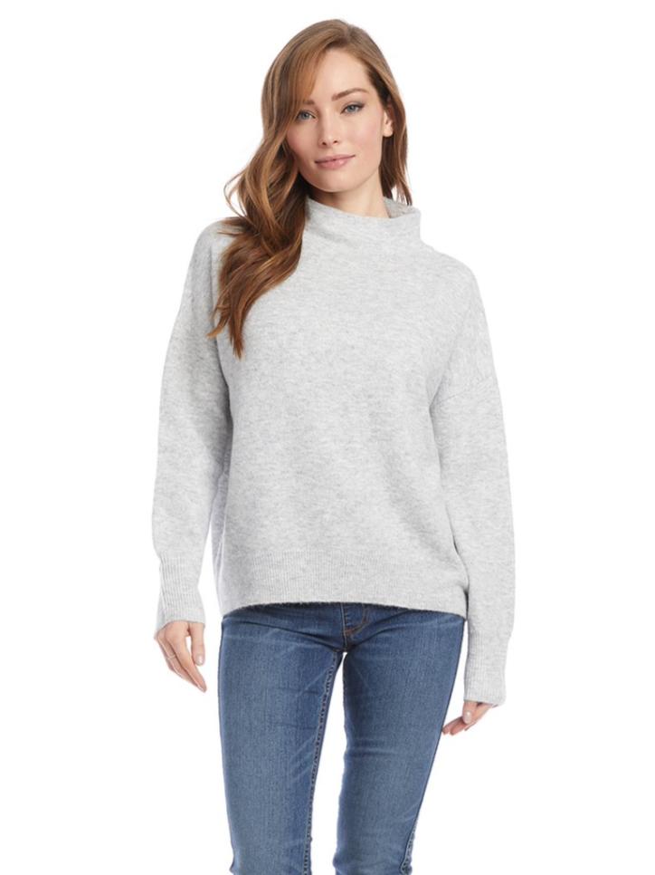 Lt. Grey Mock Neck Sweater