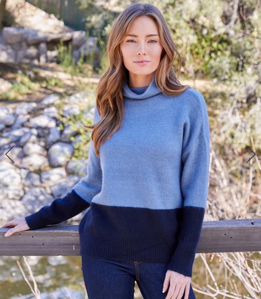 Blue Color-Block Sweater
